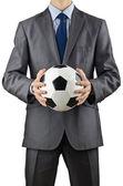 Işadamı holding futbol beyaz — Stok fotoğraf