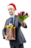 Businessman in christmas celebration concept — Stock Photo