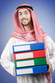 Arab businessman with office folders — Stock Photo