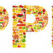 Word made of many fruits — Stock Photo #9471808