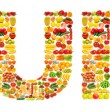 Word made of many fruits — Stock Photo