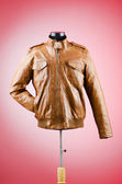 Brown leather jacket in fashion concept — Stock Photo