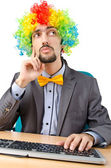 Clown businessman isolated on the white — Stock Photo
