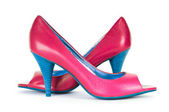 Red female shoes in fashion concept — Stock Photo