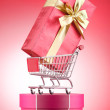 Christmas shopping concept with shopping cart — 图库照片