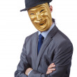 Businessman with mask concealing his identity — Stock Photo