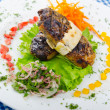 Meat cuisine - kebab served in plate — Stock Photo #9631337