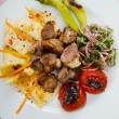 Meat cuisine - kebab served in plate — Stock Photo #9631344