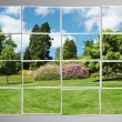 Photo cut into pieces with nature concept — Stockfoto