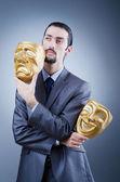Homme d'affaires avec un masque dissimulant son identité — Photo