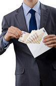 Man with euro banknotes — Stock Photo