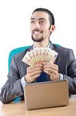 Mann mit euro-banknoten — Stockfoto