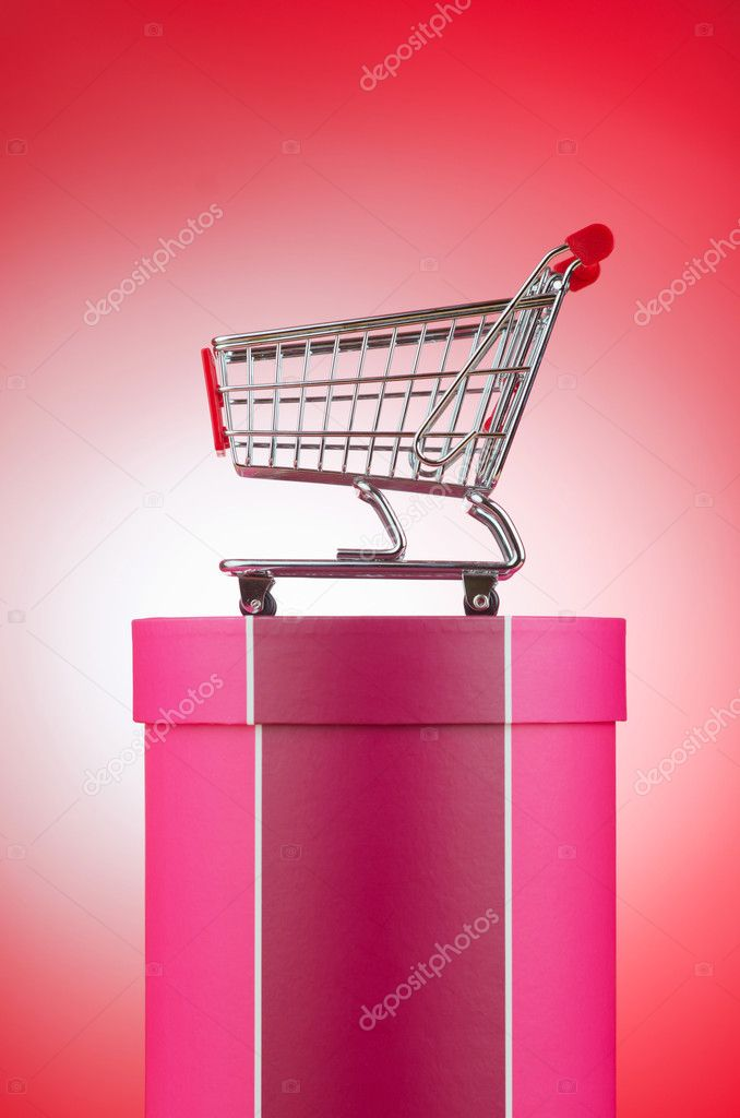 Cart and giftbox in christmas shopping concept  Stockfoto #9631168
