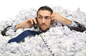 Man with lots of waste paper — Foto de Stock