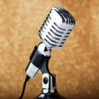 Old vintage microphone on background — Stock Photo