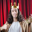 King with crown against background — Stock Photo