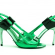Green Female shoes on white background — Stock Photo