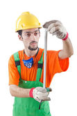 Worker with measuring tape on white — Stock Photo