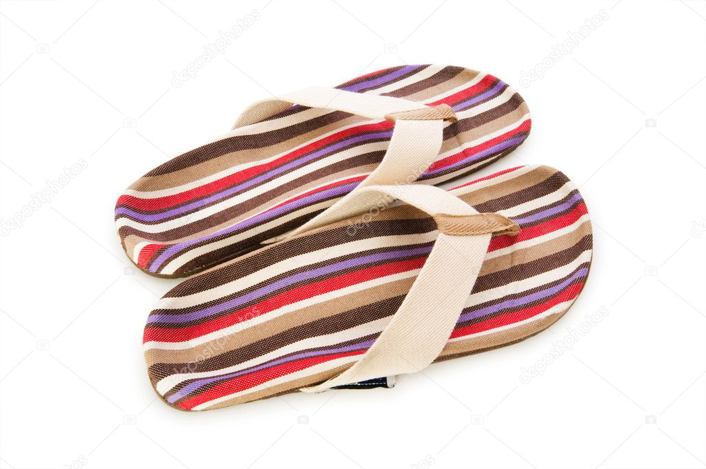 Summer colourful shoes on white  Stock Photo #9816428