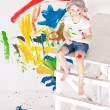 Girl in a cap with paints — Foto de Stock