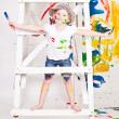 Girl in a cap with paints — 图库照片 #8384524