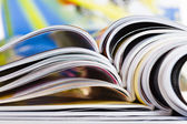 Old magazines with bending pages — Stok fotoğraf