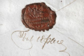 Ancient stamp on old envelope — Stock Photo