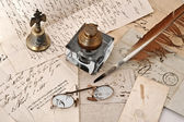 Ancient letters and old inkbottle — Stock Photo