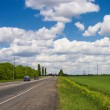 Stock Photo: Fields, road and Sky
