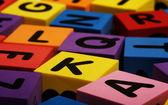 Colorful foam letter blocks — Stock Photo