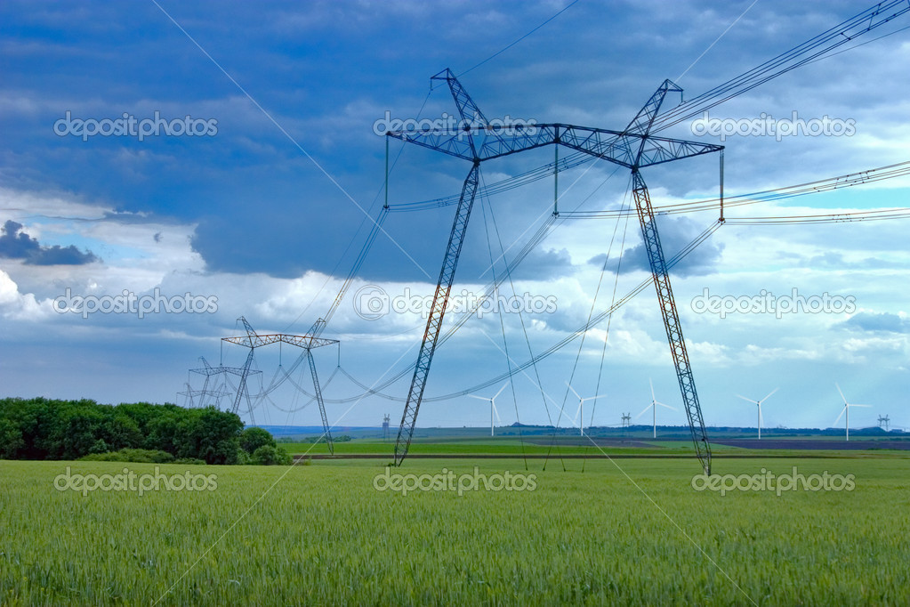 Power line and windmill — Stock Photo #9546370
