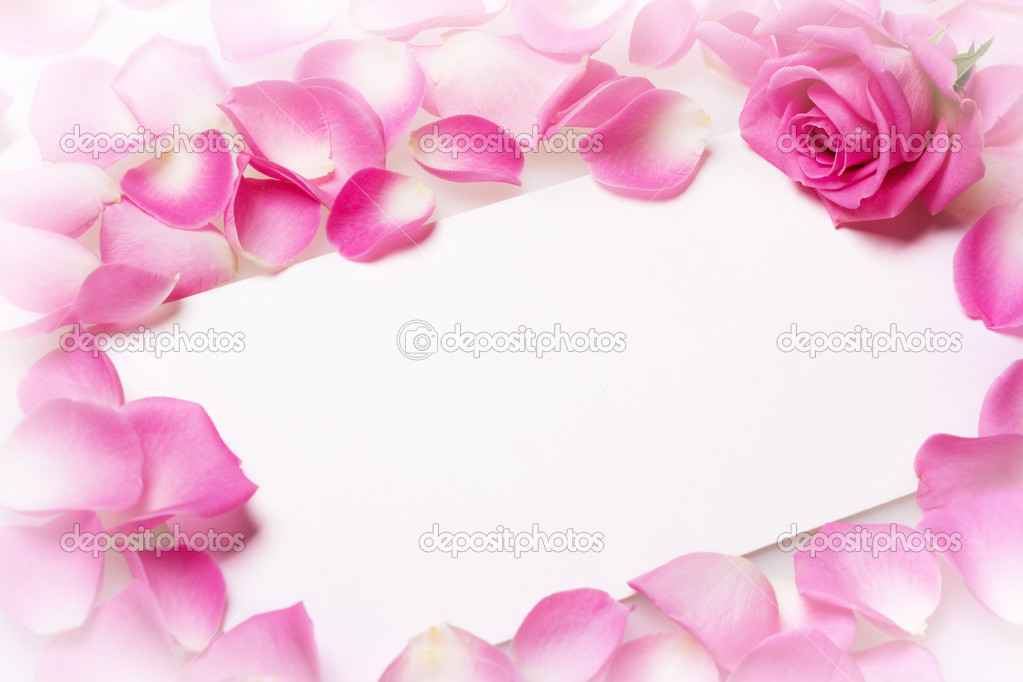 Close up view of the letter covered rose petals — Stock Photo #9547992