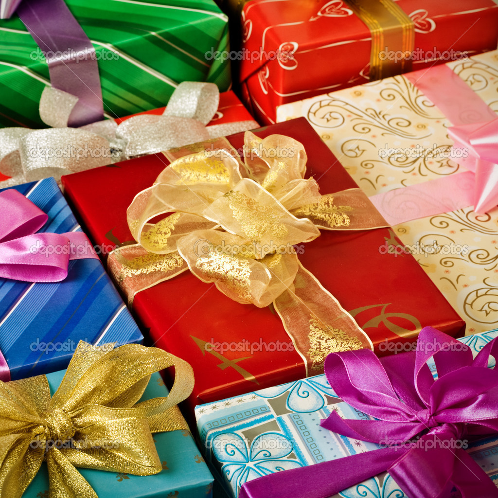 Close up view of the gift boxes background — Stock Photo #9549504