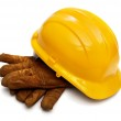 Hardhat and gloves — Stock Photo