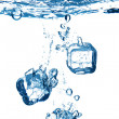 Bubbles in blue water — Stock Photo