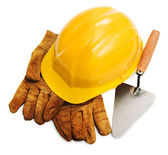 Hard hat, gloves and trowel — Stock Photo