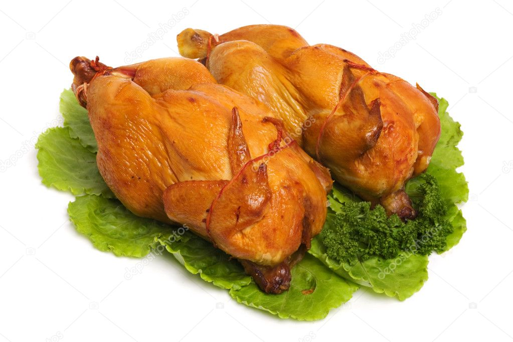 Tasty Crispy Roast Chicken on white — Stock Photo #9550091