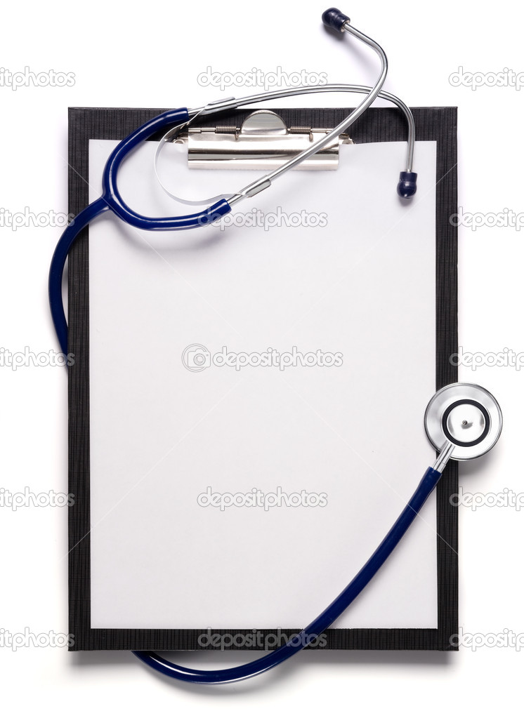 Blank clipboard with modern stethoscope, space for messages  Stock Photo #9550178