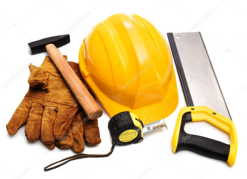 Hard hat, gloves, hammer, tape-measure — Stock Photo #9550494