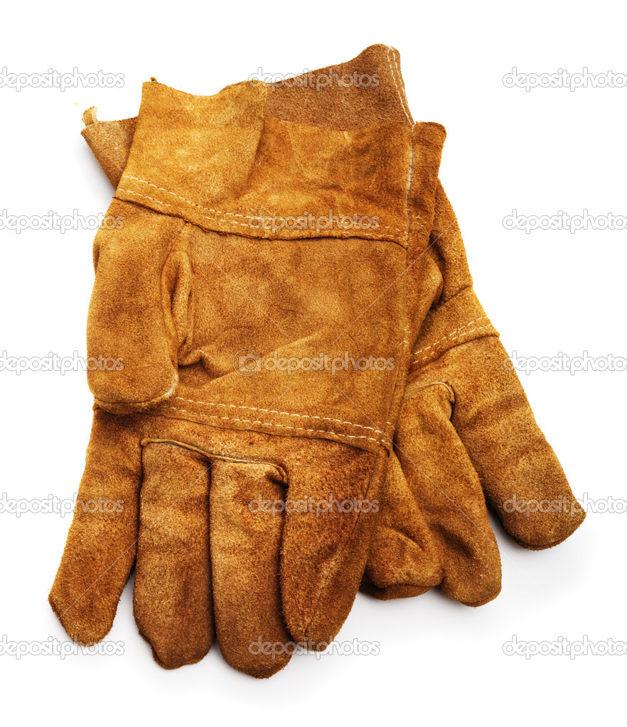 Leather work gloves isolated on white background — Stock Photo #9550501