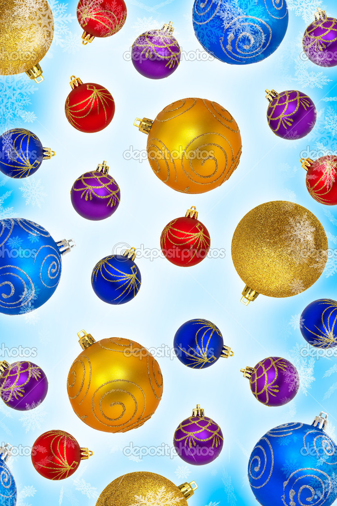 Closeup of multi-colored baubles on a white background — Stock Photo #9552268