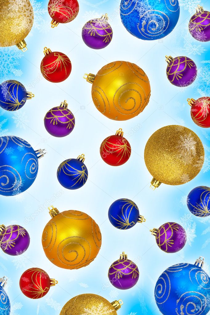 Closeup of multi-colored baubles on a white background  Photo #9552268
