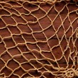 Stock Photo: Old board and fishing net