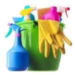 緑のバケツのクリーニング用品 — ストック写真