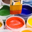 Stock Photo: Colors and painting brushes.