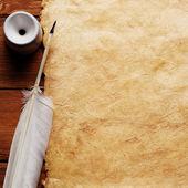 Inkwell ve eski bir kağıt üzerinde tüy — Stok fotoğraf