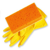 Sponges and gloves isolated on white — Stock Photo