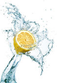 Lemon in water splash — Stock Photo
