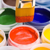Colors and painting brushes. — Stock Photo
