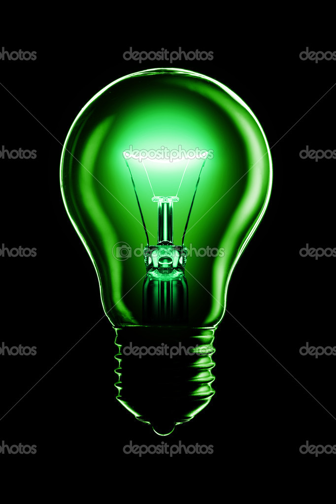 Glowing lamp on black background — Stock Photo #9597387